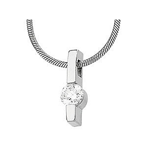 Beautiful 14k White Gold Diamond Solitaire Pendant With a Line Style Design - FREE Chain - SOLD
