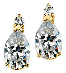Beautiful 14k Yellow Gold Post Back Stud Earring - Pear Shape Created Moissanite Gems Created by Smaller Round Moissanites - SOLD