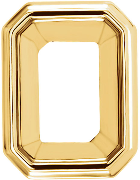 Beautiful 14kt Gold Decorative Tapered Bezel Setting for Emerald Shape Gemstone Sized 6.00 x 4.00 mm to 12.00 x 10.00 mm