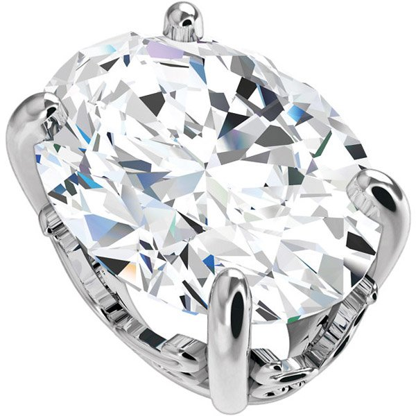 Beautiful 14kt White Gold Vintage Style 4-Prong Scroll Setting for Oval Gemstone Sized 8.00 x 6.00 mm to 25.00 x 20.00 mm