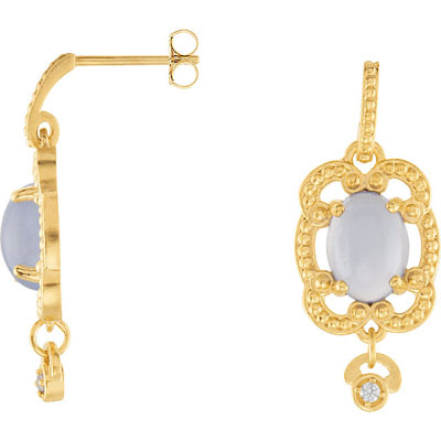 Beautiful 2.38ct 8x6mm Lavender Chalcedony Lever back Dangle Earrings With Diamond Accent - Granulated Style - Metal Type Options