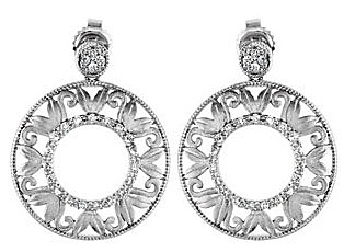 Beautiful .2 ct, .095 - 1.10 mm Diamond Accented Sterling Silver Post Back Dangle Earrings With an Open Circle Leafy Design - SOLD