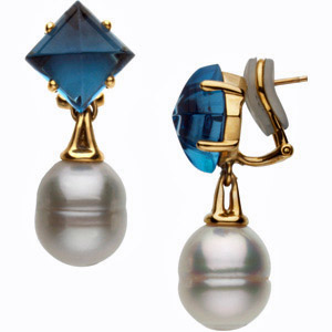 Beautiful 36ct 10-11mm Circle Shaped South Sea Cultured Pearl Earrings with a Cabochon Square London Blue Topaz