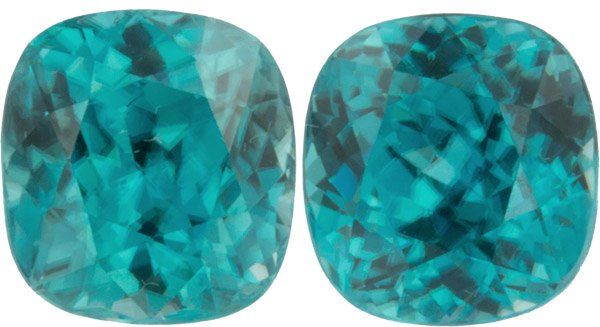 Low Price on Beautiful 8.03 carats, 8.10 x 7.80 mm Pair of Genuine Blue Zircon Gemstones in Antique Cushion Cut - SOLD