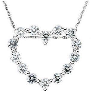 Beautiful .875ct 14k White Gold Heart Outline Pendant With 14 Amazing 2.50mm Moissanite Gems - FREE Chain Included With Pendant - SOLD