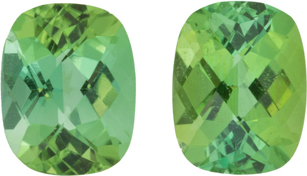 Beautiful Antique Cushion German Cut Tourmaline Pair, Intense Minty Yellowish Green Color in 9.0 x 7.0 mm, 4.39 carats