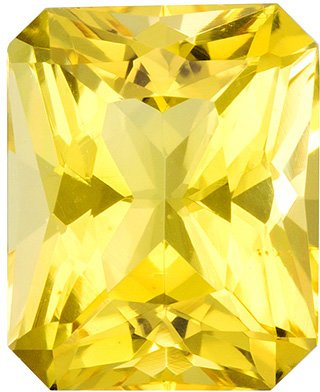Beautiful Beryl Gemstone in Radiant Cut, Pure Lemon Yellow, 8.2 x 6.7 mm, 1.59 carats