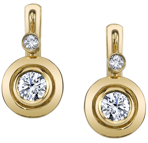 Beautiful Bezel Set Round Brilliant Cut Diamond Earrings with Smaller Round Diamond Accents - 18kt Yellow Gold