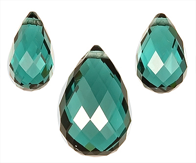 Beautiful Blue-Green Genuine Tourmaline Gemstones,  Nice 3 Piece Set,  Briolette Cut, 12.2 x 8 mm, 9.4 x 6.2 mm, 8.12 carats