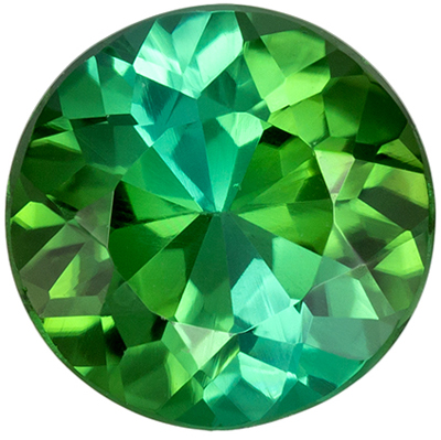 Beautiful Blue Green Tourmaline Genuine Gemstone in Round Cut, 7.9 mm, Open Blue Green, 1.73 carats
