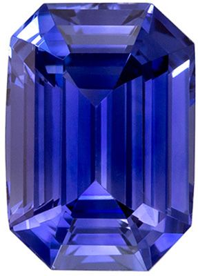 Beautiful Blue Sapphire Genuine Gem, Rich Blue, Emerald Cut, 6.9 x 4.9 mm, 1.22 carats