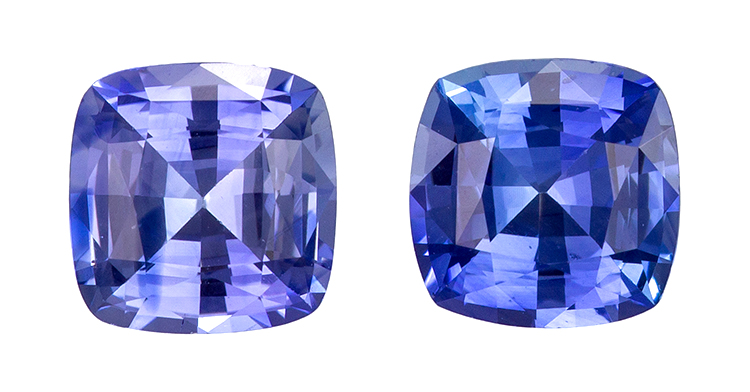 Natural Blue Sapphire Gemstones, Cushion Cut, 1.78 carats, 5.5 mm Matching Pair, AfricaGems Certified - Truly Stunning