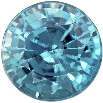 Beautiful Blue Zircon Loose Gem in Round Cut, 1.26 carats, Rich Tealy Blue, 5.9 mm