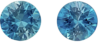 Beautiful Blue Zircon Well Matched Gemstone Pair in Round Cut, 5.67 carats, Rich Teal Blue, 8.5 mm