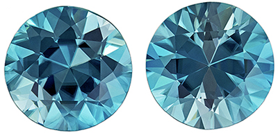 Beautiful Blue Zircon Well Matched Gemstone Pair in Round Cut, Medium Teal Blue, 7 mm, 3.45 carats
