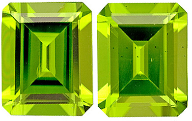 Beautiful, Bright Faceted Peridot Matched Pair, Emerald Cut, 6.94 carats