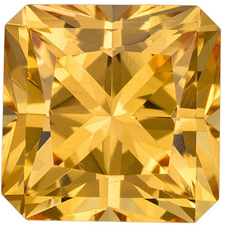 Beautiful Bright Topaz Loose Gem in Radiant Cut, Rich Golden Yellow, 7.4 x 7.4 mm, 2.69 carats