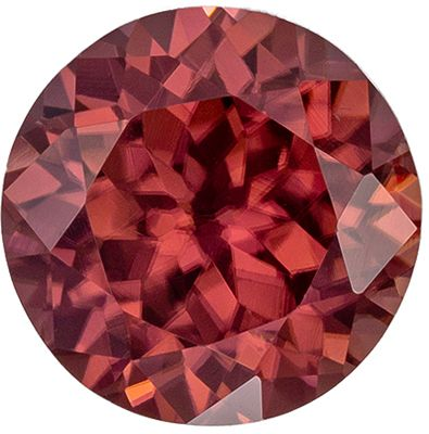 Beautiful Brown Zircon Loose Gemstone, Rosey Copper, Round Cut, 8 mm, 2.91 carats
