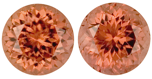 Beautiful Burnt Orange Round Cinnamon Zircon Well Matched Pair, 7.0mm, 4.21 carats
