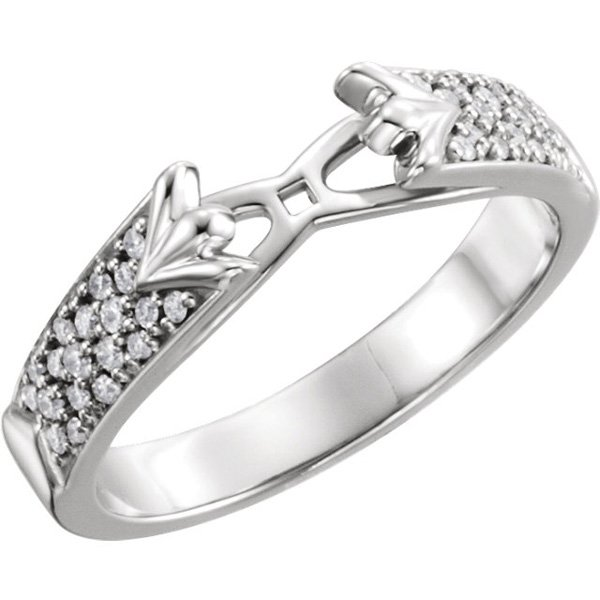 Beautiful Chunky Diamond Accented Preset Shank for Peg Setting With 1/5ctw Diamonds in 14kt Gold