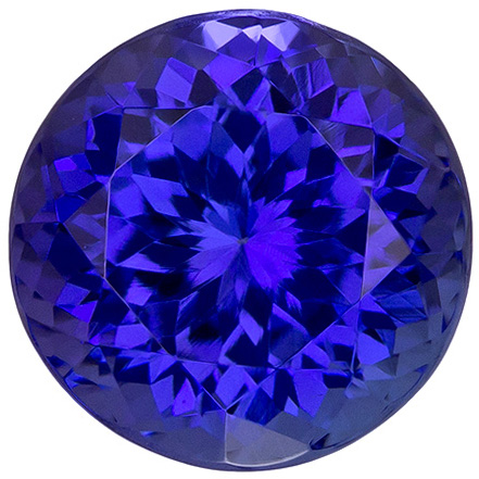 Beautiful Color in Tanzanite Loose Round Shaped Gem in Rich Deep Blue Purple, 8.5 mm, 3.06 carats