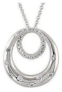 Beautiful Concentric Circle Swirl Pendant  With Inlaid and 1/3ct Pave Diamond Accents in 14k White Gold - FREE Chain Included