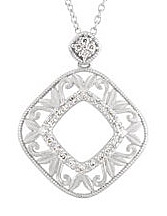 Beautiful Curved Open Square Shape Sterling Silver Pendant With .17ct Diamond Accents - FREE Chain Included With Pendant