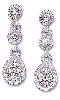 Beautiful Danlging Diamond Earrings with Pear Shaped Cluster  in 14k White Gold - .125cts