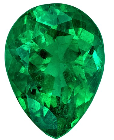Beautiful  Emerald Gemstone, 1.64 carats, Pear Shape, 9 x 6.6 mm, Hard to Find Gem