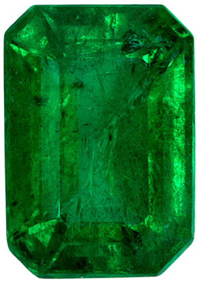 Beautiful Fiery Loose Emerald Stone in Emerald Cut, Vivid Green Color in 0.95 carats , 7 x 4.9 mm
