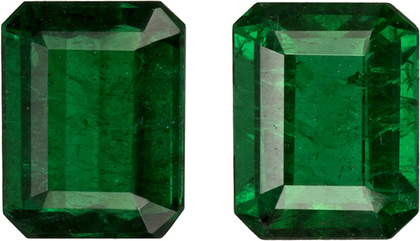 Beautiful Emerald Pair in Emerald Cut, Vivid Rich Green Color in 5.0x4.0 mm, 0.78 carats