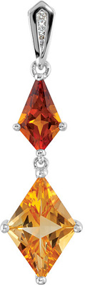 Beautiful Fancy Shape 10x6-14x9mm3.64ct Madeira Citrine and Golden Citrine Gemstone Pendants in Sterling Silver With Diamond Accents - FREE Chain With Pendant