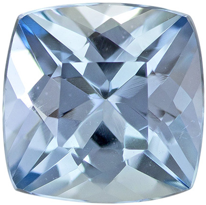 Beautiful Fine Aquamarine Loose Gem in Cushion Cut, Rich Blue, 6.1 x 6.1 mm 1.00 carats