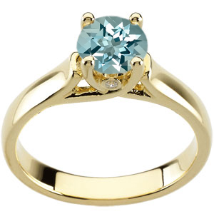 Beautiful Fine Deep Blue 1 carat 6.5mm Aquamarine Gemstone Woven Prong Solitaire Engagement Ring - Bezel Set Diamond Accents