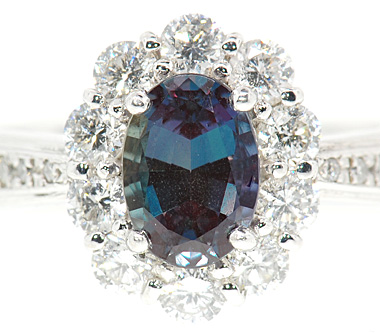Beautiful Finest Quality Natural Vivid Color Change 1 carat Alexandrite & .8cts Diamond Cluster Platinum Ring