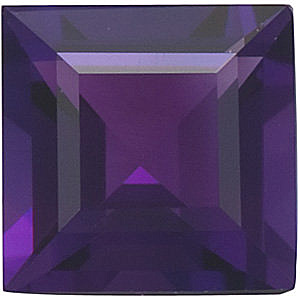 Loose Natural Calibrated Size Amethyst Gemstone in Square Step Shape Grade AAA 7.00 mm in Size 1.65 carats