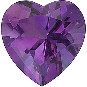 Loose  Purple Amethyst Gem in Heart Shape, Grade AA, 4.00 mm in Size, 0.22 carats