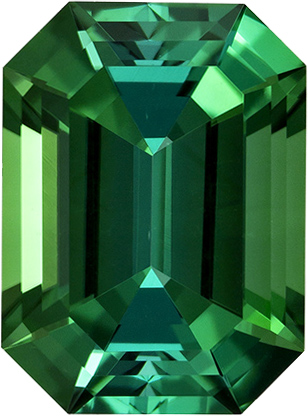 Beautiful Grass Green Tourmaline Brazil Gem in Emerald Cut, 9.5 x 7 mm, 2.7 Carats