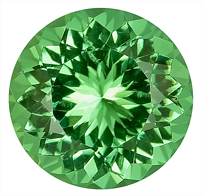 Beautiful Green Tourmaline Genuine Gemstone for SALE - Super Eye Clean Clarity,  Round Cut, 11.2 x 11.2 mm, 5.11 carats