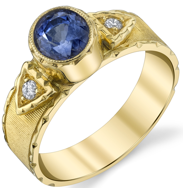 Beautiful Hand Carved 18kt Yellow Gold 1.58ct Oval Blue Sapphire Bezel Set Ring With Diamond Side Gems