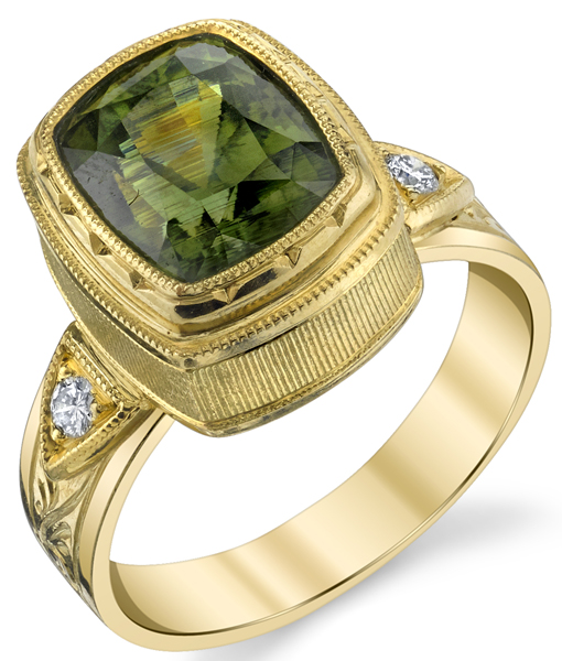 Beautiful Hand Made Bezel Set 5.38ct Cushion Cut Green Zircon 18 karat Yellow Gold Ring With Diamond Accents
