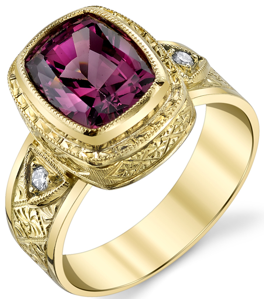 Beautiful Hand Made Bezel Set Cushion Cut 4.30ct Pink Garnet Ring in 18kt Yellow Gold - Diamond Accents