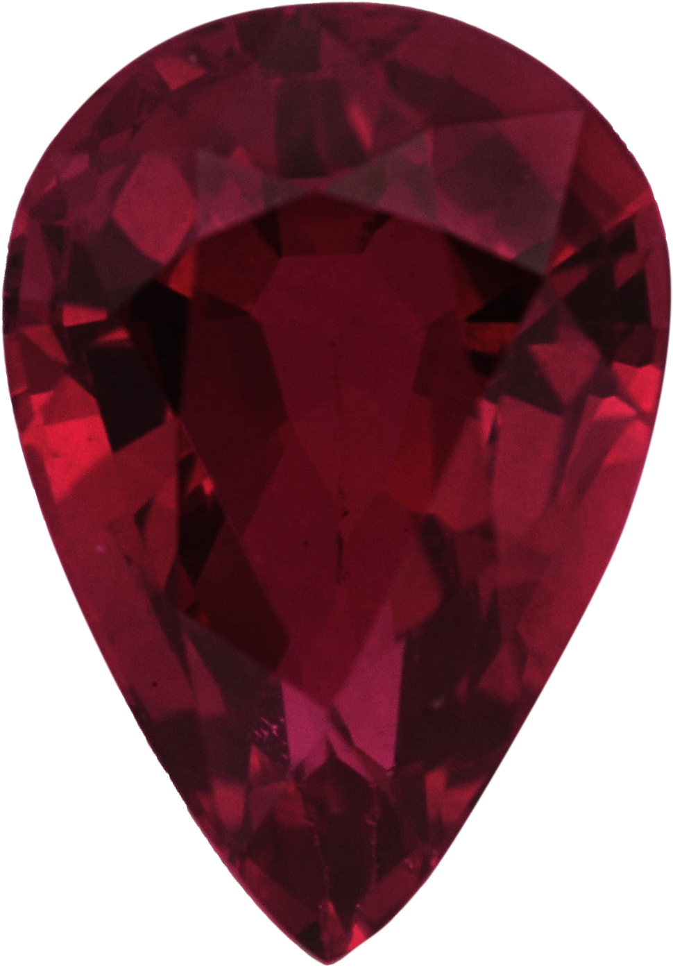 Beautiful Loose Ruby Gem in Pear Shape, Red Color, 7.23 x 5.05 mm, 1.08 carats