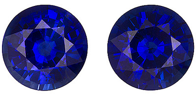 Beautiful Matched Pair Blue Sapphires from Ceylon, Round cut, 1.26 carats - SOLD