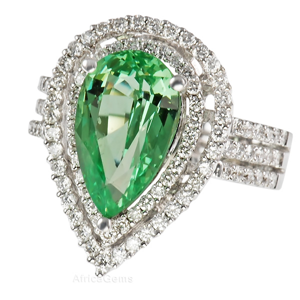 Beautiful Mint Grossular Garnet And Double Pave Diamond Designer Ring for SALE - SOLD