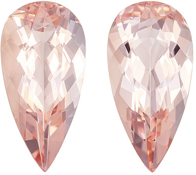 Beautiful Morganite Well Matched Gemstone Pair, Medium Pure Peach, Pear Cut, 16.1 x 8 mm, 7.32 carats