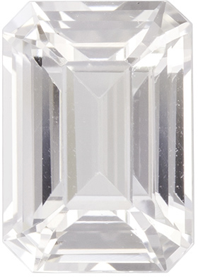 Beautiful Natural White Sapphire Loose Gem in Emerald Cut, Colorless White, 7.9 x 5.5 mm, 1.73 carats