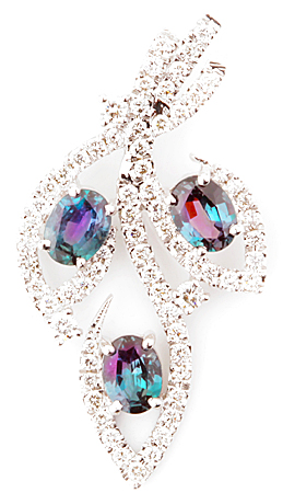 Fine Nature Inspired Brazilian Alexandrite Pendant with Diamond Accents in 14k White Gold  - 1.07 carats, 4.40 x 3.83 mm