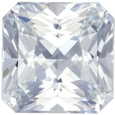 Beautiful No Heat GIA Certified White Sapphire Genuine Gem, Colorless White, Radiant Cut, 8.87 x 8.78 x 6.03 mm, 4.53 carats