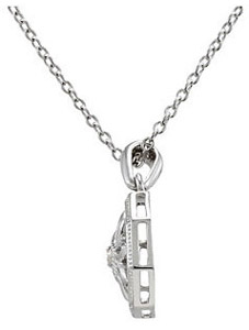 Beautiful Open Hexagon Style Pendant with .02ct Diamond Accent in Sterling Silver - FREE Chain Included